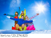 Купить «People with snowboards», фото № 23274823, снято 18 февраля 2016 г. (c) Raev Denis / Фотобанк Лори