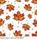 Бесшовный фон с оранжевыми листьями клена. Стоковая иллюстрация, иллюстратор Назарова Мария / Фотобанк Лори