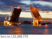 Купить «Разведеный Дворцовый мост облачной июньской ночью. Санкт-Петербург», фото № 23288715, снято 19 июня 2016 г. (c) Виктор Карасев / Фотобанк Лори