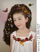 Портрет девочки с цветами и бабочками. Стоковая иллюстрация, иллюстратор Маргарита Нижарадзе / Фотобанк Лори