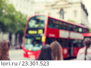 Купить «city street with red double decker bus in london», фото № 23301523, снято 19 июня 2015 г. (c) Syda Productions / Фотобанк Лори