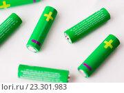 Купить «close up of green alkaline batteries», фото № 23301983, снято 3 июня 2016 г. (c) Syda Productions / Фотобанк Лори