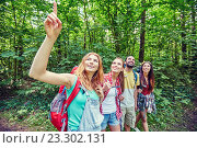 Купить «group of smiling friends with backpacks hiking», фото № 23302131, снято 25 июля 2015 г. (c) Syda Productions / Фотобанк Лори