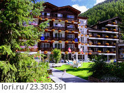 Отель Rex на курорте Zermatt, Швейцария (2014 год). Редакционное фото, фотограф Людмила Герасимова / Фотобанк Лори