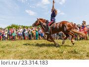 Купить «Девочка казачка скачет на лошади», фото № 23314183, снято 18 июня 2016 г. (c) Акиньшин Владимир / Фотобанк Лори