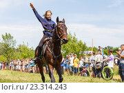 Купить «Девочка казачка скачет на лошади», фото № 23314243, снято 18 июня 2016 г. (c) Акиньшин Владимир / Фотобанк Лори