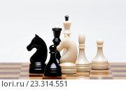 Шахматные фигуры на шахматной доске на белом фоне. Стоковое фото, фотограф Юра Добро / Фотобанк Лори