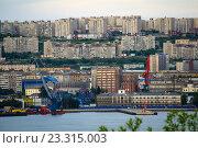 Купить «Вид на город Мурманск с противоположного берега Кольского залива», фото № 23315003, снято 23 июля 2016 г. (c) Ирина Здаронок / Фотобанк Лори