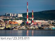 Купить «Вид на город Мурманск с противоположного берега Кольского залива», фото № 23315011, снято 23 июля 2016 г. (c) Ирина Здаронок / Фотобанк Лори