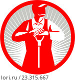 Купить «Фермер с лопатой, эмблема», иллюстрация № 23315667 (c) Aloysius Patrimonio / Фотобанк Лори