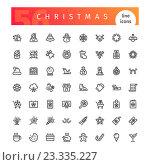 Набор рождественских иконок. Стоковая иллюстрация, иллюстратор Viachaslau Vaitsenok / Фотобанк Лори