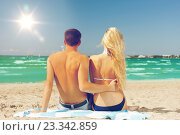 Купить «couple sitting on the beach», фото № 23342859, снято 4 августа 2012 г. (c) Syda Productions / Фотобанк Лори