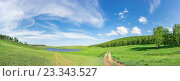 Летний пейзаж, Хакасия, небольшое озеро, Сибирь, Россия. Стоковое фото, фотограф Алексей Безрук / Фотобанк Лори