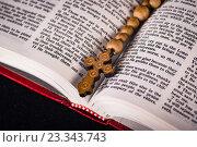 Купить «Bible and cross in religious concept», фото № 23343743, снято 24 мая 2016 г. (c) Elnur / Фотобанк Лори