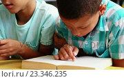 Купить «Schoolkids reading book in library at school», видеоролик № 23346235, снято 4 апреля 2020 г. (c) Wavebreak Media / Фотобанк Лори