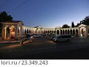 Купить «Знаменитая Колоннада ночью в Гаграх, Абхазия», эксклюзивное фото № 23349243, снято 14 июля 2016 г. (c) Алексей Гусев / Фотобанк Лори