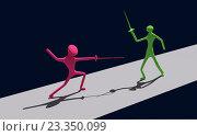 Купить «Поединок 2-х абстрактных 3д-человечков на рапирах», иллюстрация № 23350099 (c) Виктор Тараканов / Фотобанк Лори