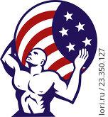 Купить «Атлас держит земной шар с флагом США», иллюстрация № 23350127 (c) Aloysius Patrimonio / Фотобанк Лори