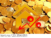 Купить «Красный значок процента на фоне денег», фото № 23354051, снято 13 февраля 2016 г. (c) Сергеев Валерий / Фотобанк Лори
