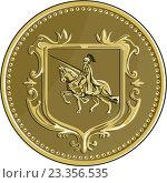 Купить «Рыцарь верхом на коне, эмблема в форме медали», иллюстрация № 23356535 (c) Aloysius Patrimonio / Фотобанк Лори