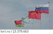 Купить «Флаги Белоруссии, Казахстана, Китая и России на флагштоках развеваются на фоне синего неба», видеоролик № 23379663, снято 10 августа 2016 г. (c) Игорь Долгов / Фотобанк Лори