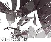 Купить «Осколки разбитого стекла на белом фоне», иллюстрация № 23381451 (c) Арсений Герасименко / Фотобанк Лори