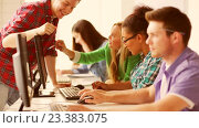 Купить «students in computer class», видеоролик № 23383075, снято 11 августа 2016 г. (c) Syda Productions / Фотобанк Лори