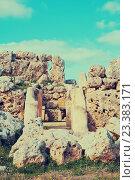 Купить «Ggantija neolithic temples (3600 B.C.)», фото № 23383171, снято 18 декабря 2010 г. (c) Яков Филимонов / Фотобанк Лори