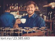 Barista tasting a new type of coffee in his coffee shop., фото № 23385683, снято 26 июля 2016 г. (c) Andrejs Pidjass / Фотобанк Лори