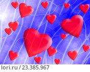 Купить «Падающие красные объемные сердечки на фоне абстрактного синего неба», иллюстрация № 23385967 (c) Николай Полыгалин / Фотобанк Лори