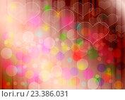 Купить «Светло-красный абстрактный градиентный фон с цветными бликами и сердечками», иллюстрация № 23386031 (c) Николай Полыгалин / Фотобанк Лори