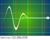 Купить «Электрический импульс на зелёном экране осциллографа», фото № 23386039, снято 22 января 2018 г. (c) Николай Полыгалин / Фотобанк Лори