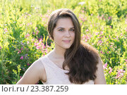 Купить «Portrait of girl of 16 years in flower meadow», фото № 23387259, снято 13 июля 2016 г. (c) Володина Ольга / Фотобанк Лори