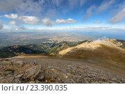 Купить «Панорманый вид со склона горы Олимп в Греции», фото № 23390035, снято 20 сентября 2013 г. (c) Евгений Дробжев / Фотобанк Лори