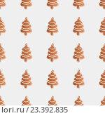 Рождественское печенье в виде ёлочек, иллюстрация, бесшовный фон. Стоковая иллюстрация, иллюстратор Алина Чебыкина / Фотобанк Лори