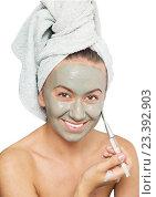 Купить «Женщина с маской для лица», фото № 23392903, снято 11 августа 2016 г. (c) Насыров Руслан / Фотобанк Лори