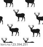 Бесшовный белый фон с черными оленями. Стоковая иллюстрация, иллюстратор Назарова Мария / Фотобанк Лори