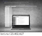 Купить «laptop computer with coding on screen», фото № 23402827, снято 14 ноября 2013 г. (c) Syda Productions / Фотобанк Лори