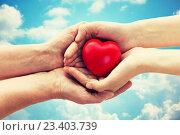 Купить «senior and young woman hands holding red heart», фото № 23403739, снято 10 июля 2015 г. (c) Syda Productions / Фотобанк Лори