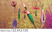 Купить «Поплавок и приманки», видеоролик № 23413135, снято 18 августа 2009 г. (c) Куликов Константин / Фотобанк Лори