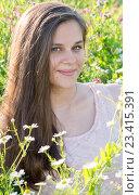 Купить «Beautiful girl on glade with meadow flowers», фото № 23415391, снято 13 июля 2016 г. (c) Володина Ольга / Фотобанк Лори