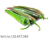 Зеленый перец на белом фоне. Стоковое фото, фотограф Koba Samurkasov / Фотобанк Лори