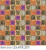 Бесшовный узор, национальные мотивы ацтеков. Стоковая иллюстрация, иллюстратор Назарова Мария / Фотобанк Лори