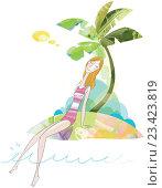 Девушка под пальмой. Стоковая иллюстрация, иллюстратор Мария Румянцева / Фотобанк Лори