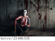 Купить «Кровавый клоун-маньяк с топором», фото № 23440535, снято 28 июня 2016 г. (c) Евгения Литовченко / Фотобанк Лори