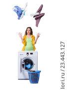 Купить «Woman feeling sressed after doing dirty laundry», фото № 23443127, снято 13 мая 2016 г. (c) Elnur / Фотобанк Лори