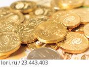 Купить «Мелкие деньги, монеты на купюре», фото № 23443403, снято 29 августа 2016 г. (c) Алексей Букреев / Фотобанк Лори