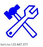Купить «Молоток и ключ гаечный на белом фоне», иллюстрация № 23447371 (c) Сергеев Валерий / Фотобанк Лори