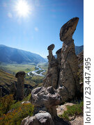 Купить «Каменные грибы на Алтае / Nature phenomenon and nature miracle Stone Mushrooms rocks in Altai mountains under Sun rays», фото № 23447495, снято 24 августа 2016 г. (c) Serg Zastavkin / Фотобанк Лори