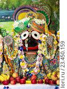 Купить «Индийское божество Джаганнатх на алтаре, украшенное гирляндами. Джаганнатх - экстатическая форма Кришны.», фото № 23450159, снято 25 августа 2016 г. (c) Galina Barbieri / Фотобанк Лори
